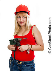Woman with a drill in hands