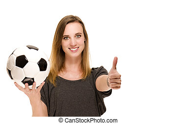 woman with a football showing thumbs up on white background