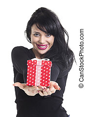 woman with a gift on white