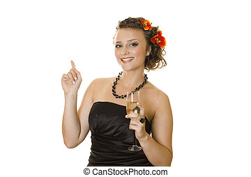 Woman with a glass of champagne