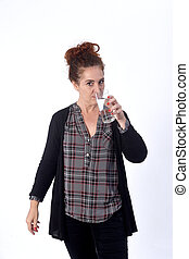 woman with a glass of water on white background