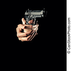 woman with a gun, black background, only hand