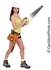 Woman with a handsaw