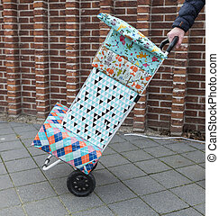 woman with a handtruck full of presents