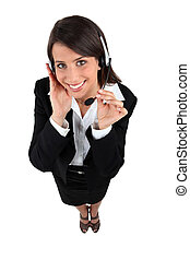 Woman with a headset