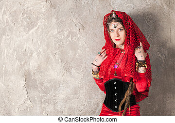 Woman with a kerchief on her head