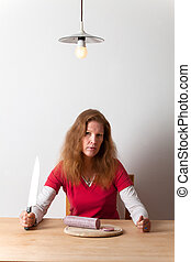 woman with a knife