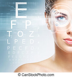Woman with a laser on her eyes (ophthalmology, optometry and...
