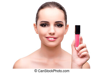 Woman with a lipstick isolated on white