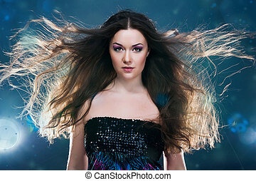 Woman with a long beautiful hair