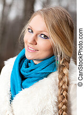 woman with a long braid - beautiful girl with a long braid...