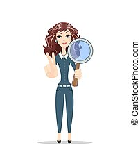 woman with a magnifying glass.