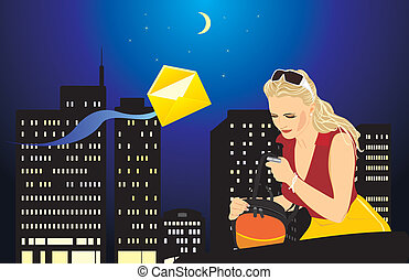 Woman with a mobile telephone