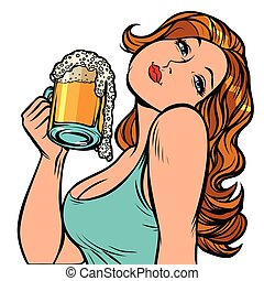 Woman with a mug of beer in profile. Isolate on white background