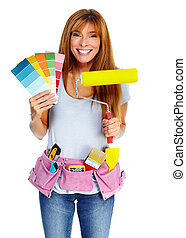 Woman with a painting roller.