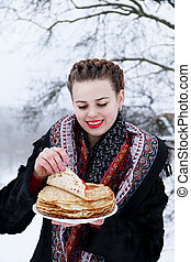 woman with a pancakes