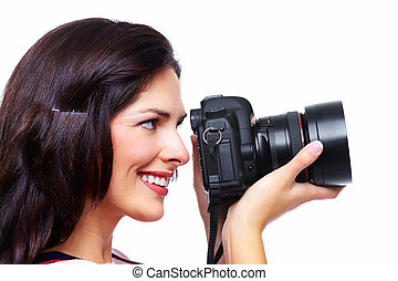 Woman with a photo camera.