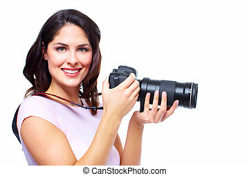 Woman with photo camera. Professional photographer.