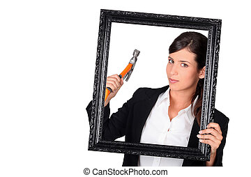 Woman with a picture frame