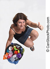 woman with a plastic waste on white background