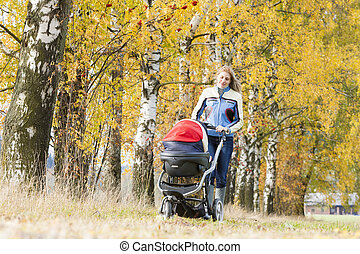 woman with a pram on walk in autumnal nature
