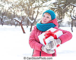 Woman with a present
