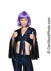 Woman with a purple wig