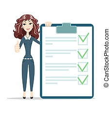 woman with a questionnaire . Survey form icon vector, flat...
