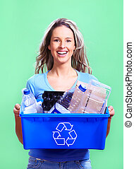 woman with a recycle bin