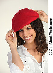 Woman with a red beret
