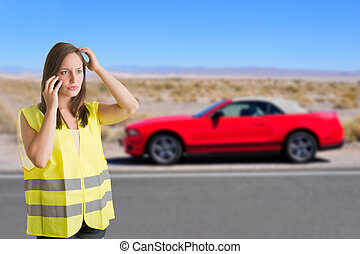 Woman With a Reflector Vest