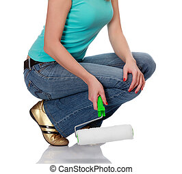 woman with a roller brush against the white background.