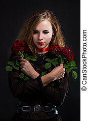woman with a roses