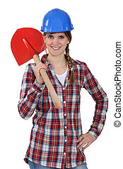 Woman with a shovel