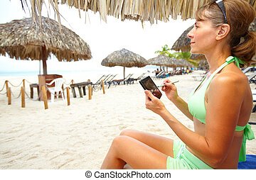 Woman with a smartphone.