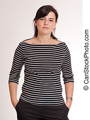 woman with a stripped t-shirt