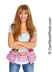 Woman with a tool belt.  Isolated white background.