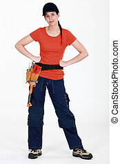 Woman with a toolbelt