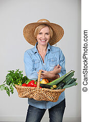 Woman with a vegetable basket