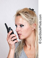 Woman with a walkie-talkie