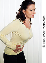 woman with abdominal pain - woman with pain in the abdomen ...