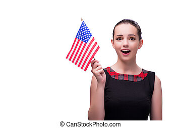 Woman with american flag isolated on white