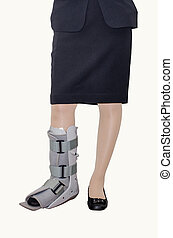 woman with an ankle brace