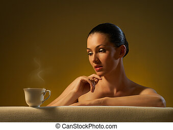 aromatic coffee - Woman with an aromatic coffee