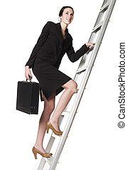 Woman with an Attach? climbing a ladder