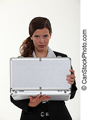 Woman with an attache case