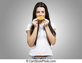 woman with an orange smile