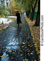 Woman with an umbrella walks along the sidewalk in the fall....