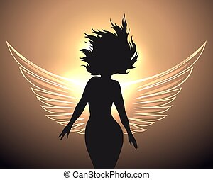 Woman with angel wings