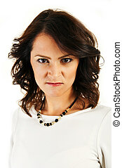 Woman with angry face on white background